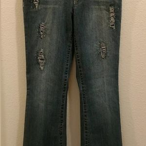 Cache embellished bootcut jeans